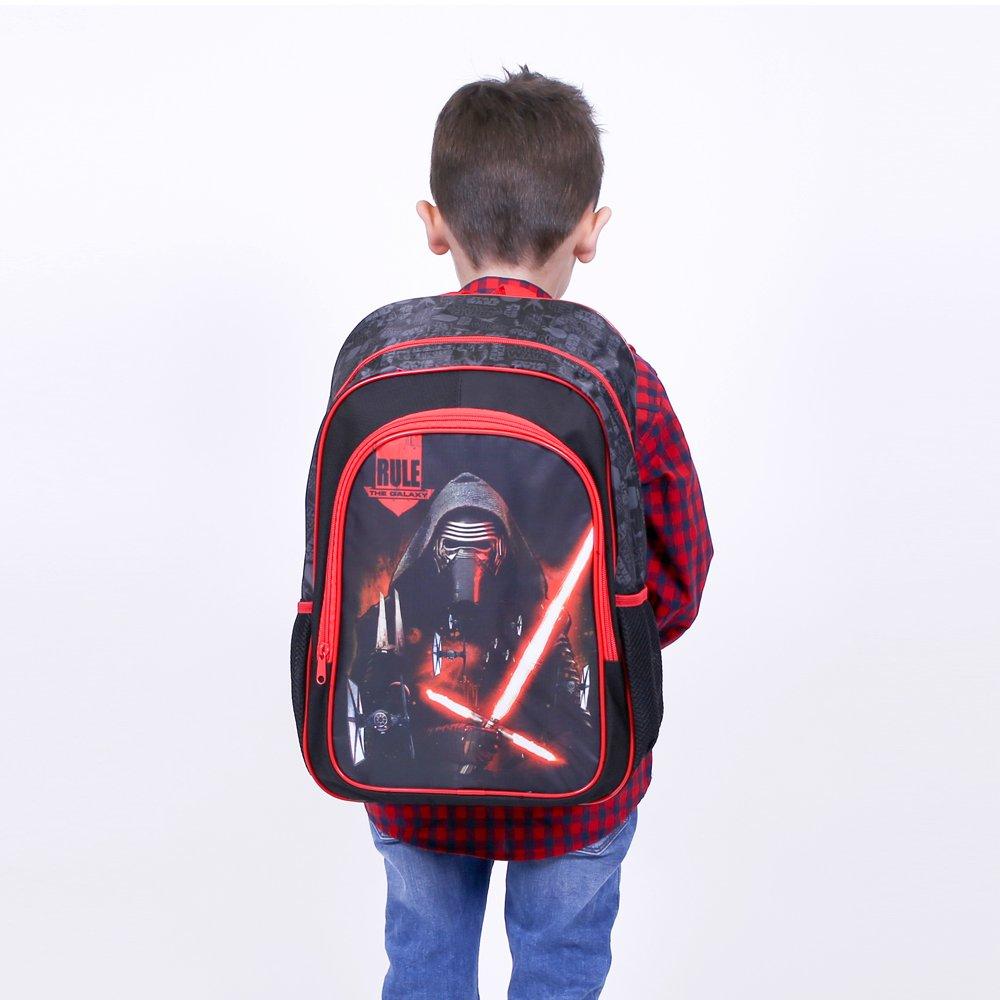 Cartella scolastica per lasilo e la scuola 41x27x14 cm Zainetto Bambino Star Wars Perletti Nero Zaino con tasca frontale stampa Kylo Ren