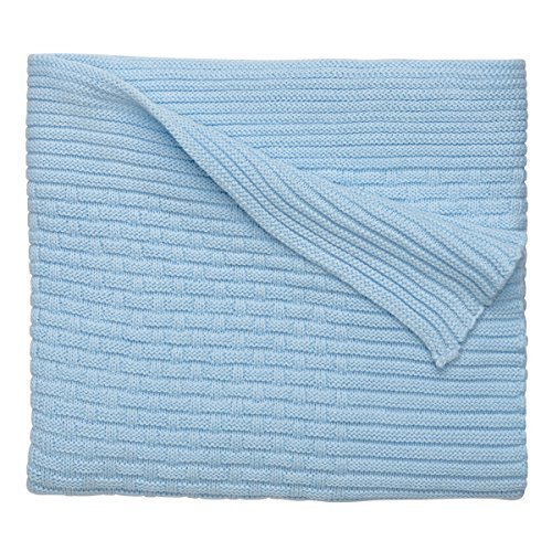 Elegant Baby 100% Cotton, Basket Weave Knit Blanket with Wide Ribbed Border 30 x 40 Inch in Baby Blue by Elegant Baby