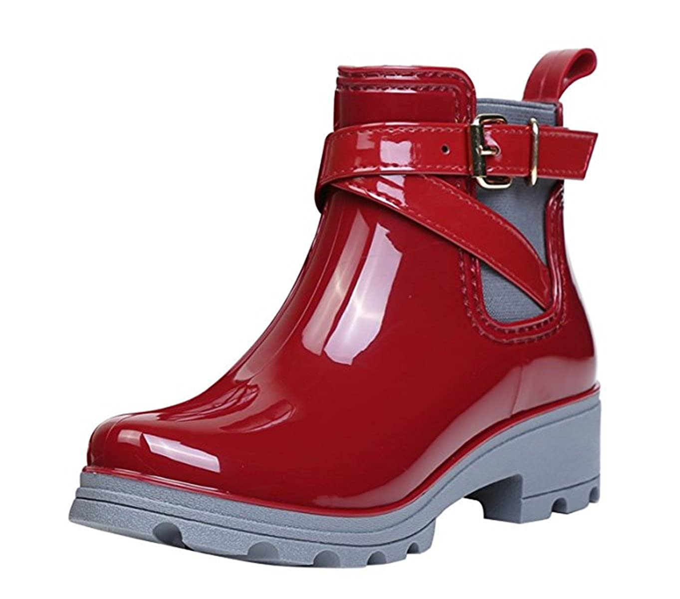 YOGLY Mujer Botas de Agua Bota de Goma Mujer Impermeable Lluvia Zapatos
