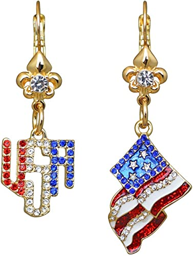 Esme Silvertone Ritzy Couture American Flag /& Crystal USA Leverback Earrings