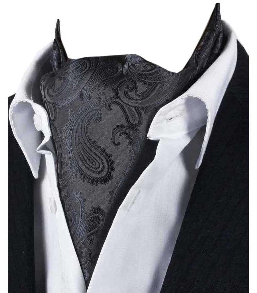 L04BABY Mens Black Paisley Floral Suit Silk Ties Ascot Jacquard Woven Cravat