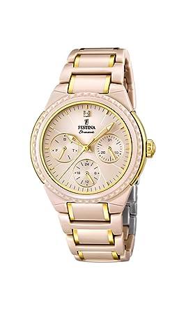 Festina F16699/3 - Reloj de pulsera mujer, cerámica, color beige: Festina: Amazon.es: Relojes