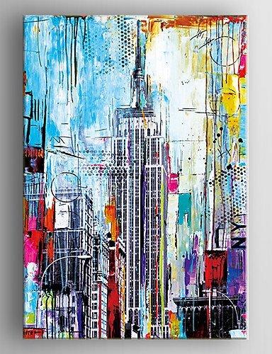 Xf Pintado A Mano Pintura Al óleo Abstracta Edificios De Pintar Con