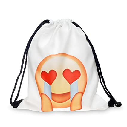 b6b41607068e Cevinee trade; Portable Gym Sack Pack Drawstring Emoji Backpack, Cute Emoji  Daily Pull String Bag, Lovely Smile Face Kid's School Bag