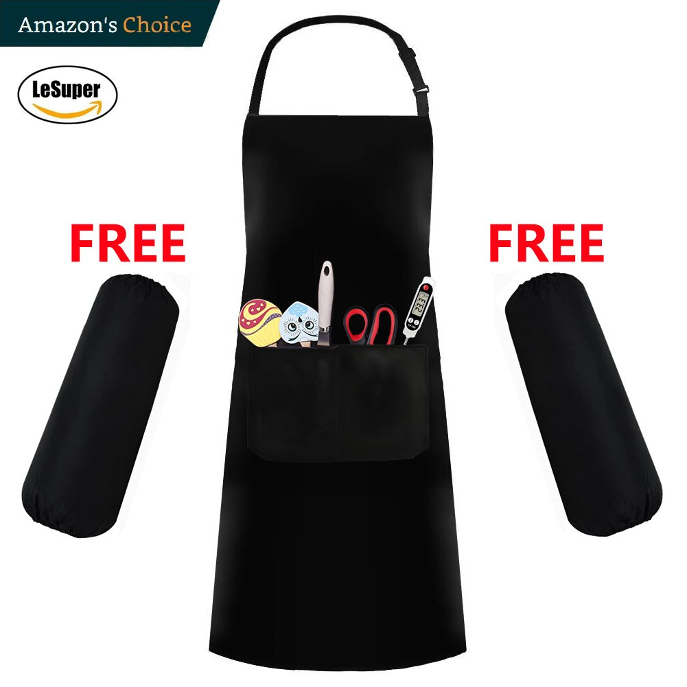 Lesuper Professional Bib Waterproof Apron with pockets - Durable, String Adjustable, Machine Washable, Comfortable and Easy Care Aprons (Black)