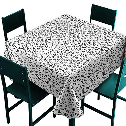 (Warm Family Numbers Decorative Textured Fabric Tablecloth Mathematics Multiplication Square Root Addition Subtraction Equations Monochrome Great for Buffet Table)