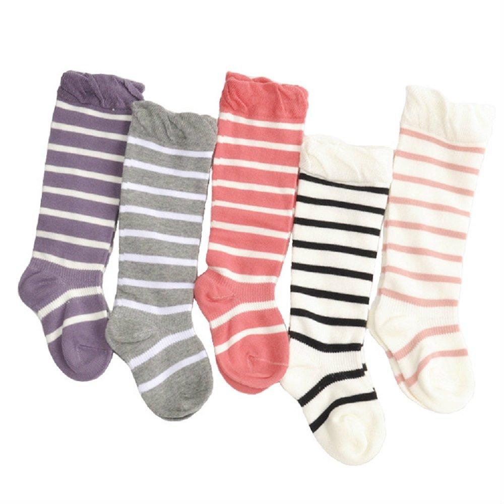 5 Pairs Toddler Baby Girls Socks Knee High Cotton Socks Stripe Pattern Baby Stockings