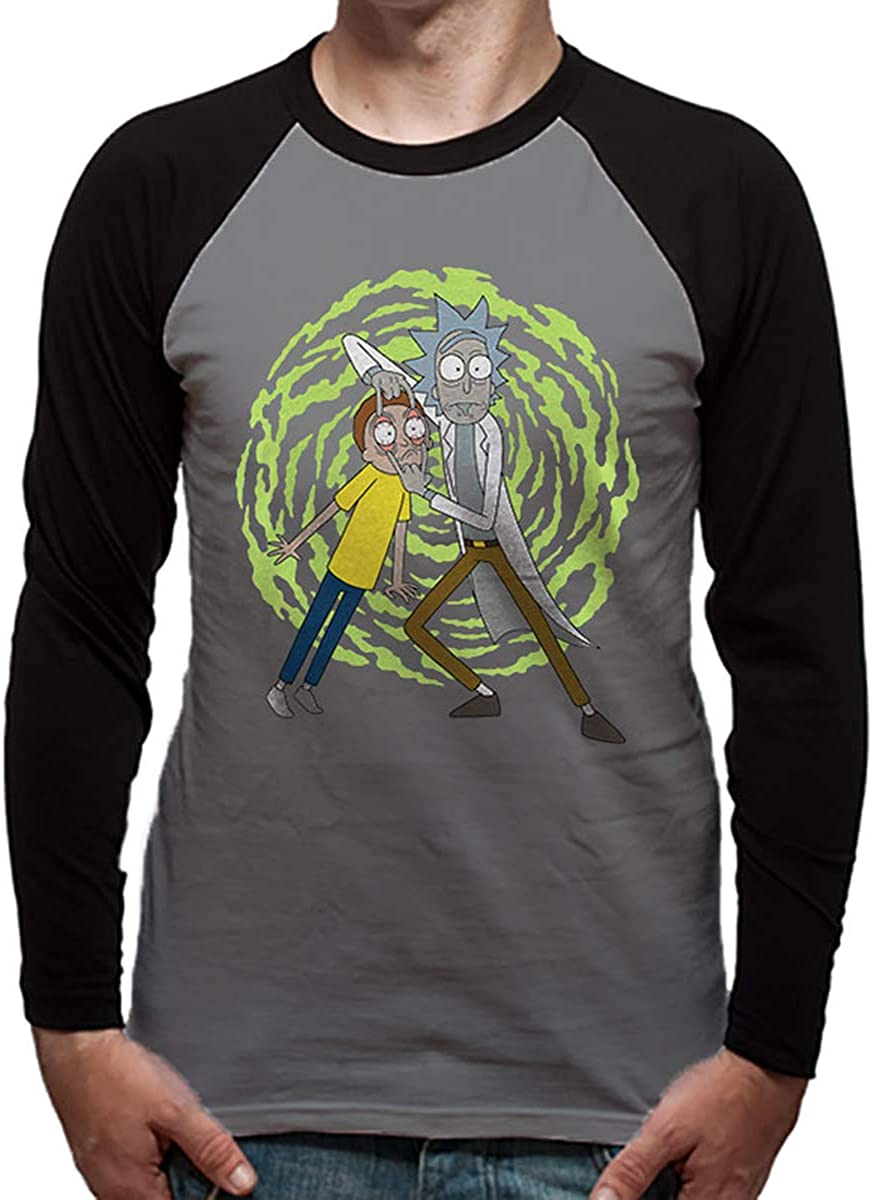 Official Rick And Morty Licensed Merchandise Spiral Unisex Long Sleeve Baseball T-Shirt Tee