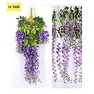14 Pack 3.6 Feet/Piece Artificial Silk Wisteria Vine Ratta Hanging Flowers Party Wedding Decor 5