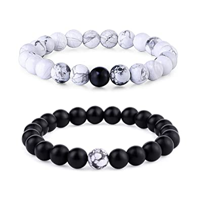 9577c668ae7a7 Byson 2 Pcs Couple Distance Relationship Bracelets Black Matte Agate &  White Howlite Energy Beads Stone Ying Yang Balance Bracelet Banglet for  Lovers ...