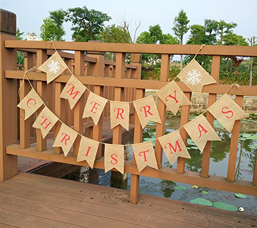 Tititina Merry Christmas Jute Burlap Banners Flags for Christmas Party Decoration, family gathering(2Pcs)
