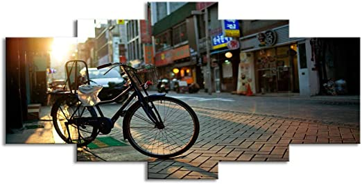 ChuangYing 5 Pedazos de Paisaje Calle Bicicleta Pared decoración ...