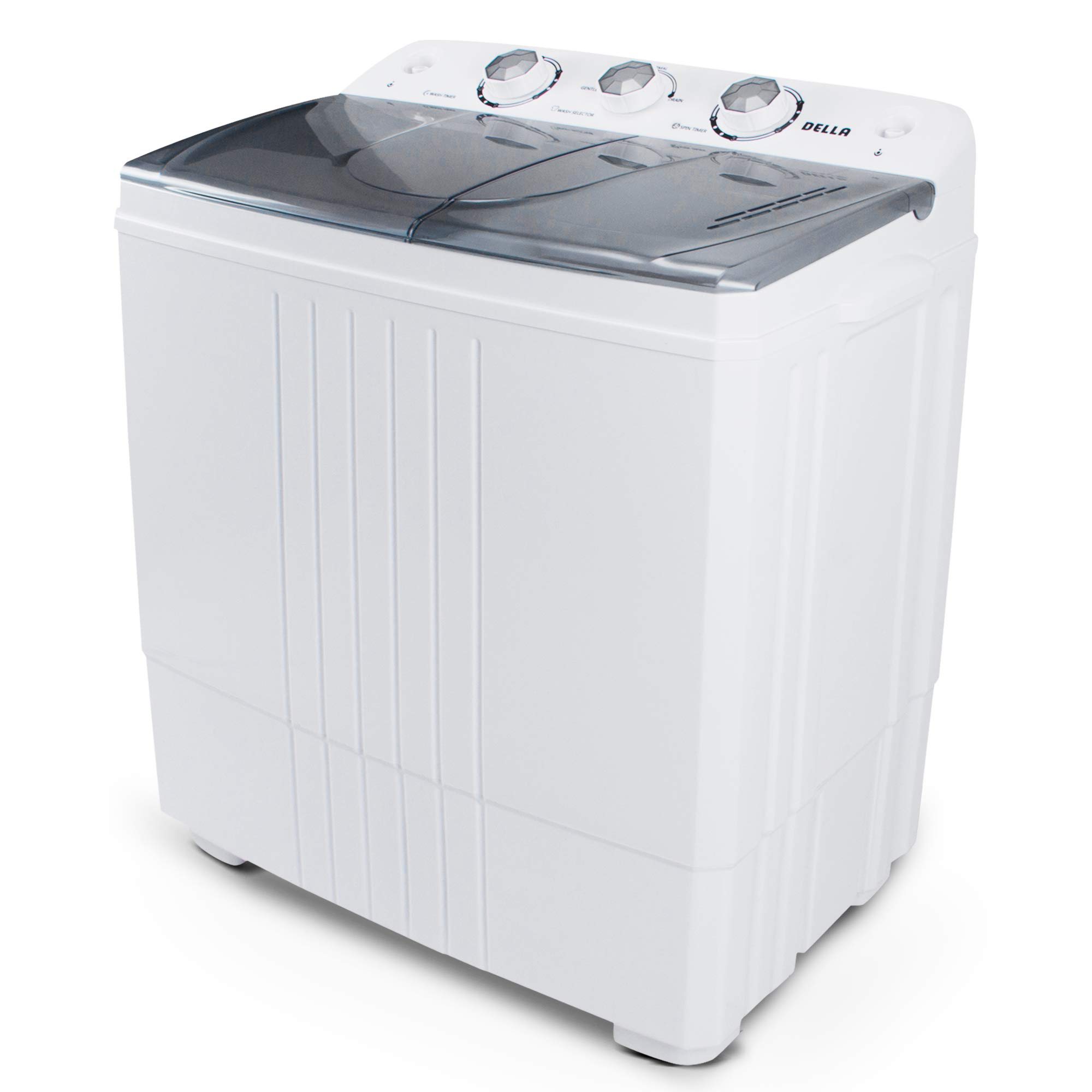 DELLA Small Compact Portable Washing Machine Washer 11lbs Capacity Top Load Laundry with Spin Dryer Combo, White by DELLA