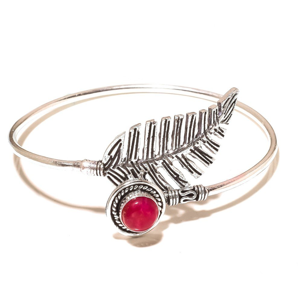 Red Dyed Ruby Sterling Silver Overlay 15 Grams Bangle//Bracelet Free Size Gift Jewelry
