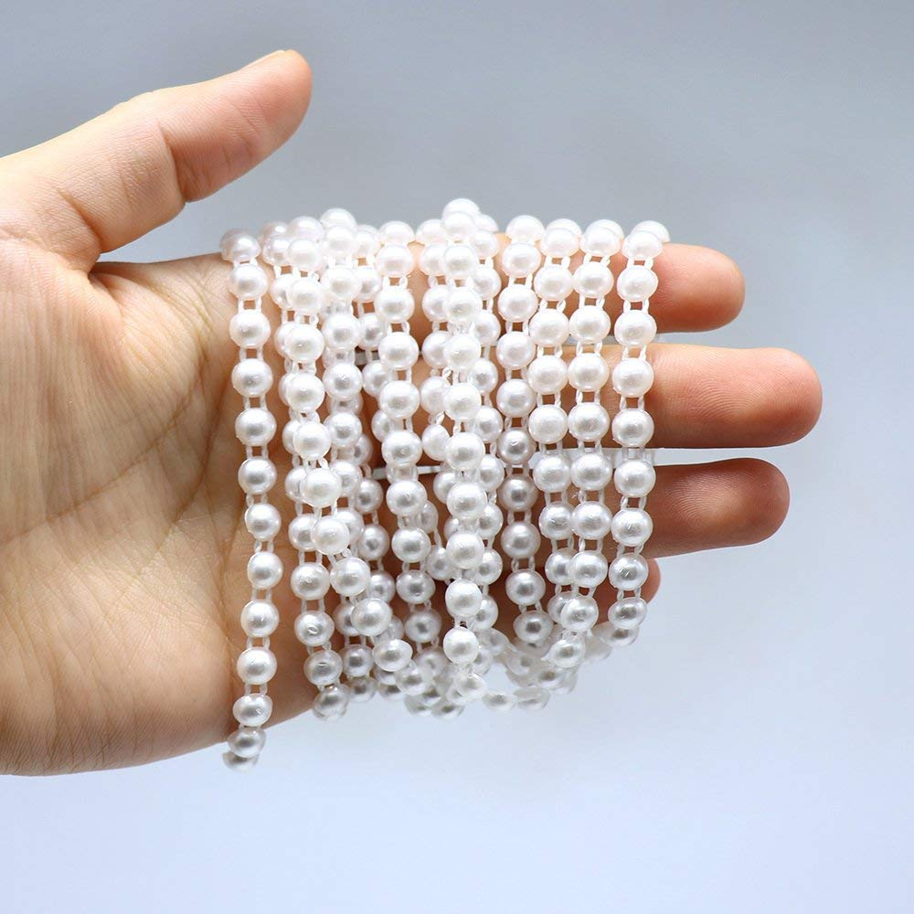 Ivory 2y//lot 6mm ABS Ivory 2Lines Half Round Imitation Pearls Flatback Trim Beads