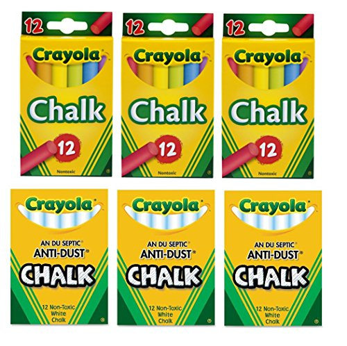 Crayola Non-Toxic 3 Anti-Dust White Chalk and 3 Colored Chalk Bundle Arts & Crafts Educational Toys Anti Dust White Chalk