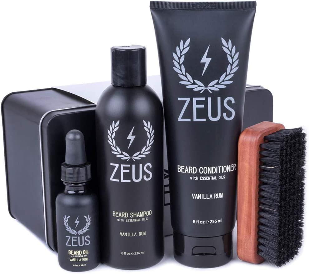 ZEUS Deluxe Beard Grooming Kit for Men - Set de regalo ...
