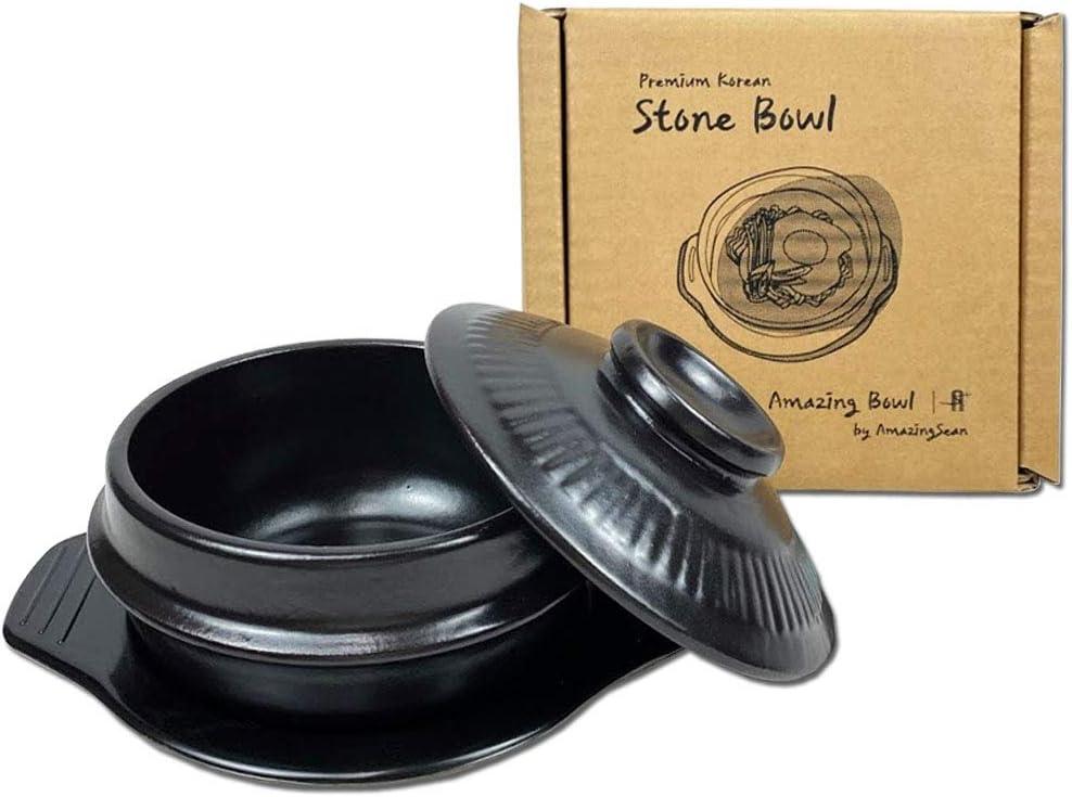 Amazing Bowl - Korea Premium Stone Bowl for Cooking with Lid and Trivet, Dolsot, Earthenware, Stone Pot Hot Pot Bibimbap Jjiage Korean Food (X-Large (6.8