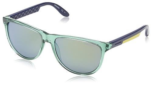 Carrera – Gafas de sol redondas 5007 para mujer, color verde/azul/amarillo, talla 56 mm