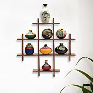 ExclusiveLane 8 Terracotta Warli Handpainted Pots with Sheesham Wooden Frame Wall Hanging - Wall Shelves for Bedroom Corner for Living Room Terracotta Pots Wall Hanging Shelf Indian Home Décor