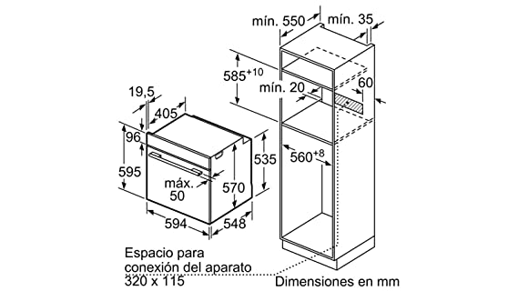 Balay 3HB4331B0 - Horno (Medio, Horno eléctrico, 71 L, 71 L, 3400 ...