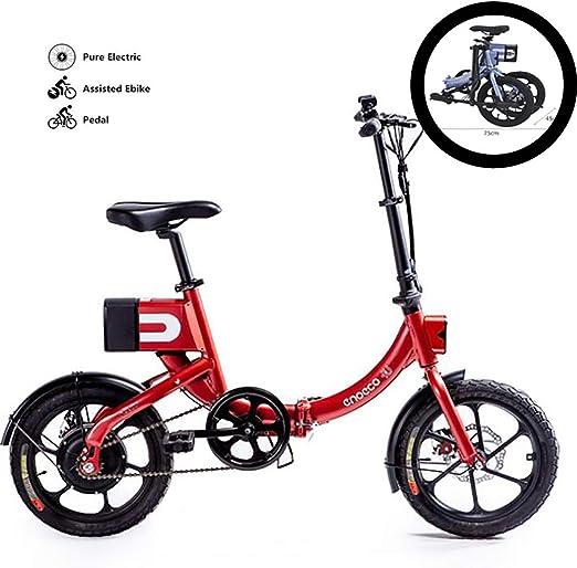 GUOJIN Bicicleta Electrica Plegable, 6Ah 36V Batería de Iones de Litio de Alta Capacidad Reemplazable, 250W Motor, Portátil Bici Electrica Urbanas Adecuadas para Adolescentes y Adultos,Rojo: Amazon.es: Deportes y aire libre