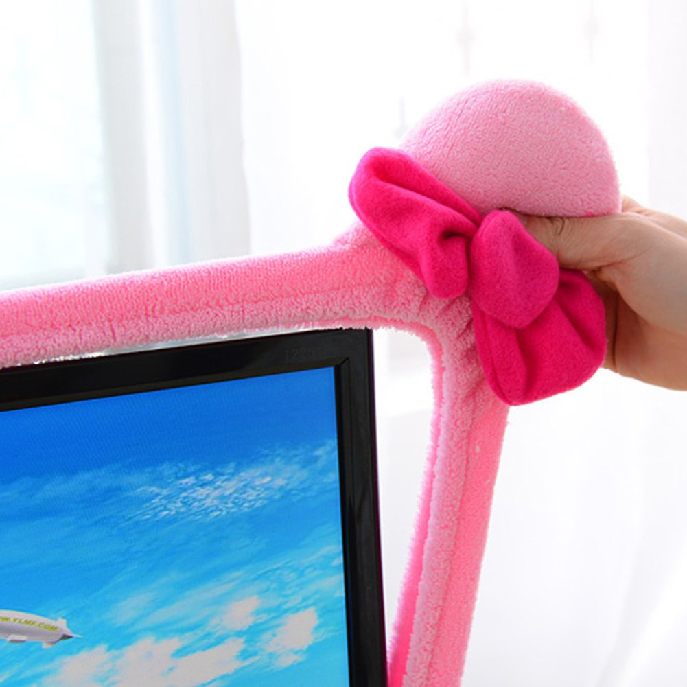 Moonse 15-22 Lovely Cute Waterproof Dustproof Computer Laptop TV LCD Screen Monitor Decoration Dust Cover Protector,Pink