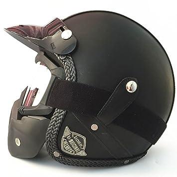 GHL Casco de Moto Retro Personalidad Locomotive Cuero Casco Mask Visera del Sol, Negro,