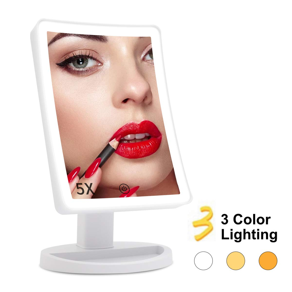 COSMIRROR 5X Magnifying Makeup Vanity Mirror, Lighted Makeup Mirror with 72 LED Lights and 3 Color Lighting, Dual Power Supply, 180 Degree Rotation Cosmetic Magnification Tabletop Light up Mirrors