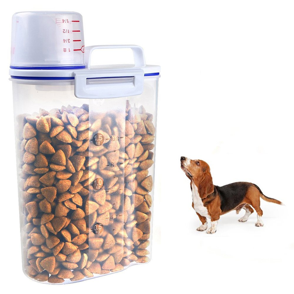 Tutuba Pet Food Storage Container With Pour Spout and Measuring Cup 2.5L