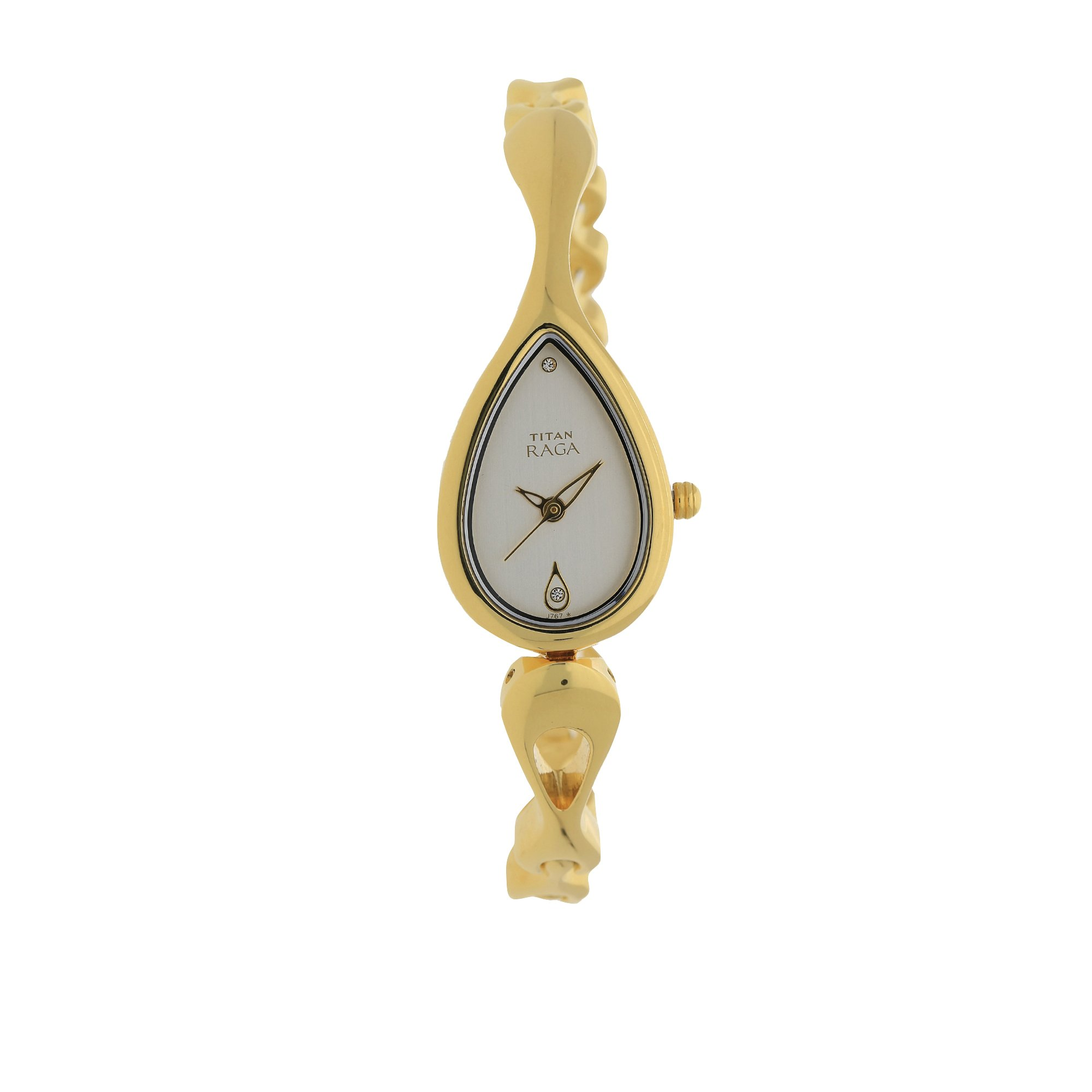 Titan Raga Gold Metal Jewellery Bangle Design, Bracelet Clasp, Quartz Glass, Water Resistant Analog Wrist Watch by Titan