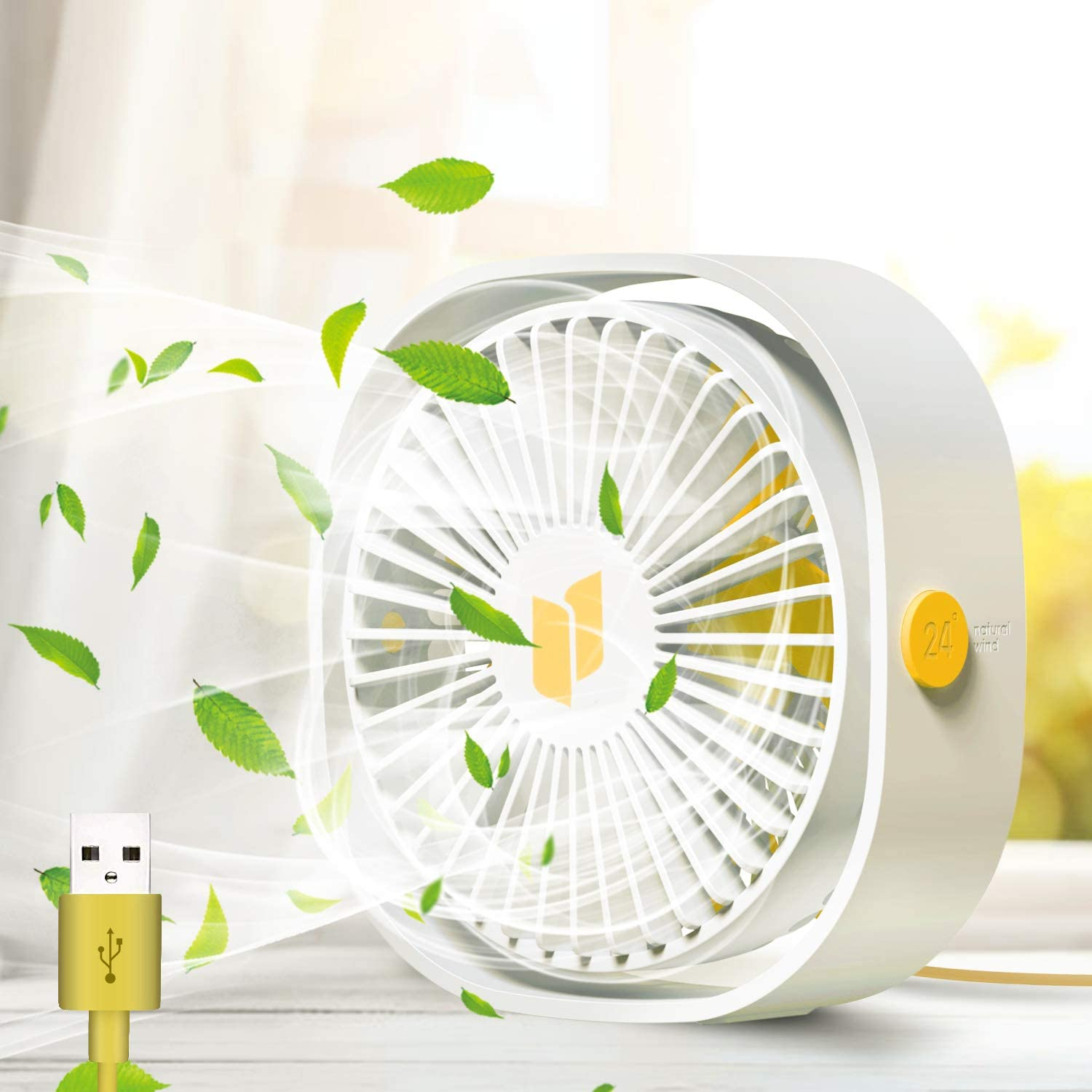 USB Fan, Tencoz USB Desk Fan, Portable Mini USB Fan, Fan USB 3 Speeds Adjustable, Desk Fan USB Desk Fan with USB, USB Table Fan Silent Ideal For Home Office Outdoor Travel USB Powered