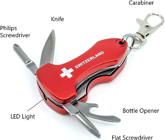 Multifonction Petit Tournevis Sets Mini outils de poche porte-clés avec lumière DEL H