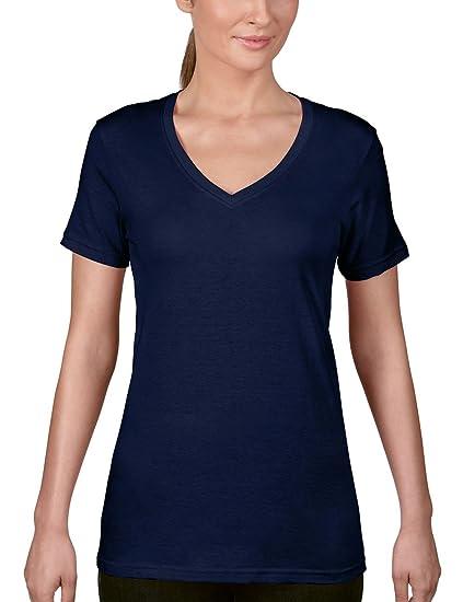 Damen Basic T-Shirt Tee Top V-Ausschnitt Shirt leicht tailliert Anvil
