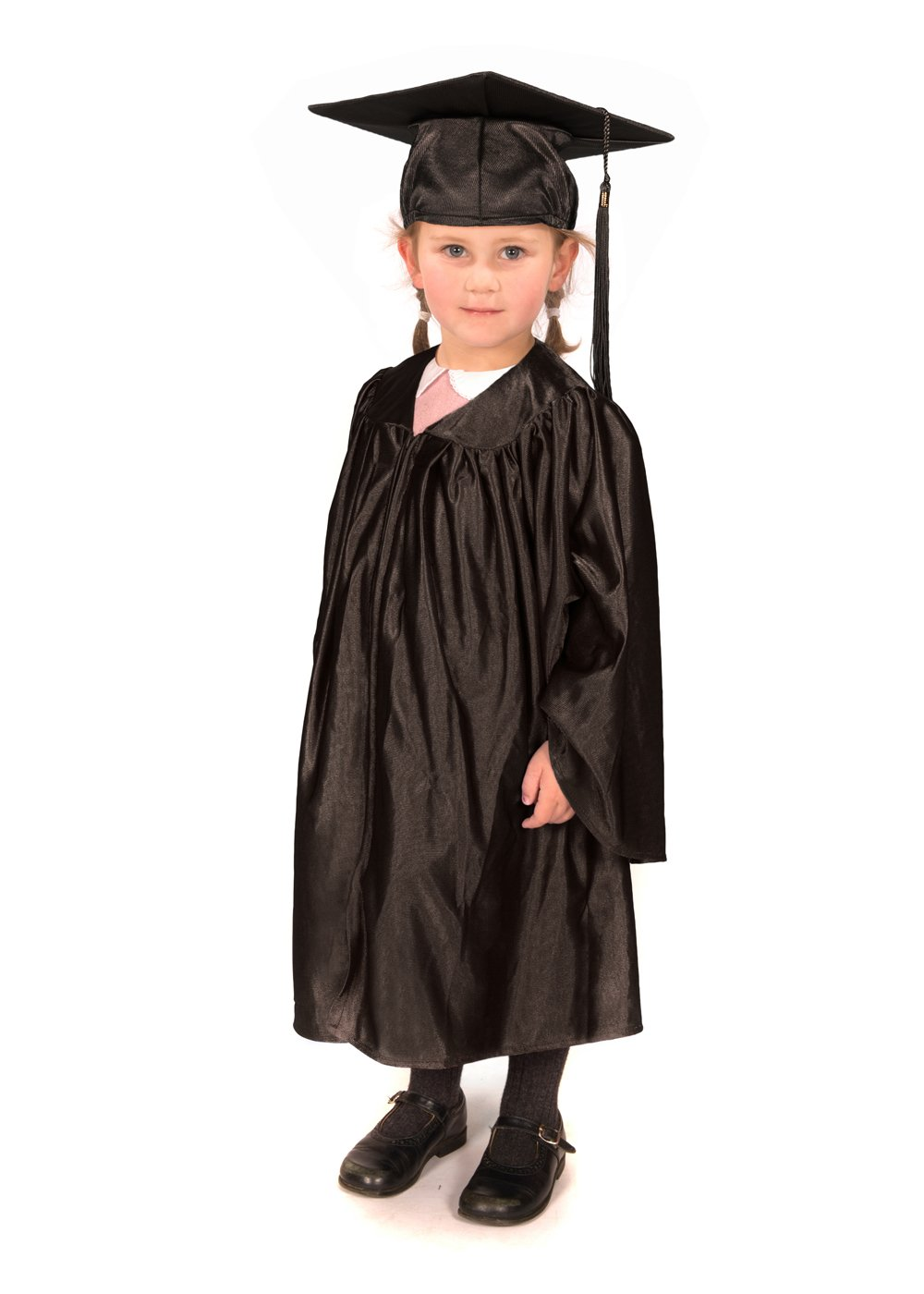Childrens graduation gowns Black shiny look age 3-5 and matching cap