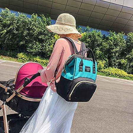 multifuncional gris+negro de gran capacidad bolsa de viaje para pa/ñales para mam/á y pap/á con bolsillos aislados para el cuidado del beb/é impermeable Baby Mochila de pa/ñal para cambiar pa/ñales