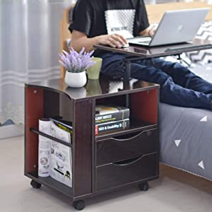 FHSGG Bedside Table Height Adjustable Wood Nightstand End Table Mobile Laptop Stand Bedside Storage Cabinet with 2 Drawers Suitable for Bedroom Living Room Office