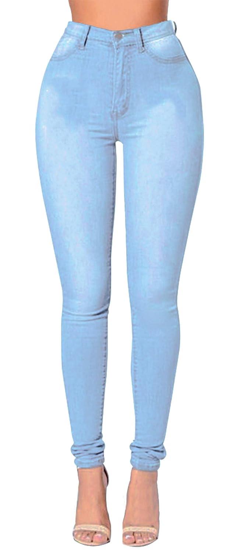 AIEOE Jeans Women's High Waist Stretch Butt Lifting Trousers Women's Super Skinny Jeans