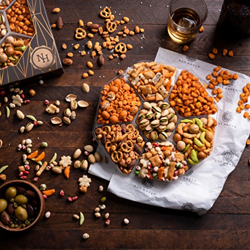 The Nut Haven Gourmet Party Mix Nut Gift Basket/Box ~ variety of freshly roasted 7 section nut tray ~ Great for: Corporate, Holiday, Birthday, Get well, Thank you, Men & Women, snack ~ Prime by Nut Haven (Image #2)