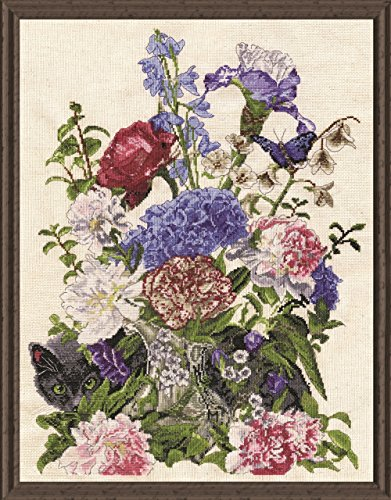 Tobin 2908 14 Count Bouquet with Cat Counted Cross Stitch Ki