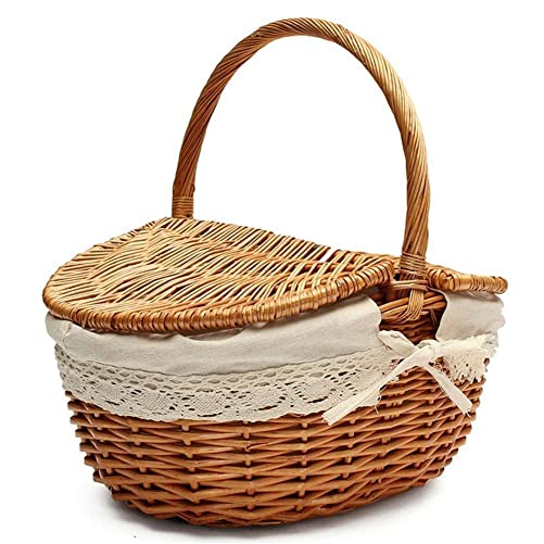 Prom-near Wood Wicker Basket Handmade Woven Willow Storage Basket with Lid Picnic Basket Flip Cover Portable Weaving Baskets Linen Lining Gift