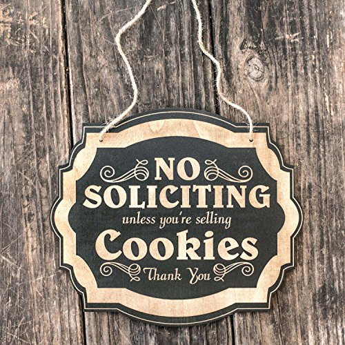 No Soliciting Unless You're Selling Cookies - Black Door Sign (Sign Girl Door)
