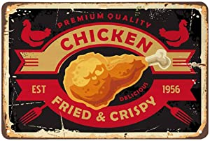 AOYEGO Chicken Tin Sign,Fried Crisp Leg Fast Food Fork Restaurant Delicious Rooster Hen Meat Vintage Metal Tin Signs for Cafes Bars Pubs Shop Wall Decorative Funny Retro Signs for Men Women 8x12 Inch