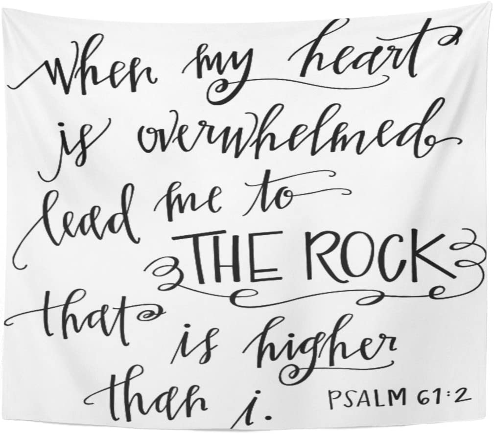 Emvency Tapestry My Rock Quote Heart Home Decor Wall Hanging for Living Room Bedroom Dorm 50x60 Inches