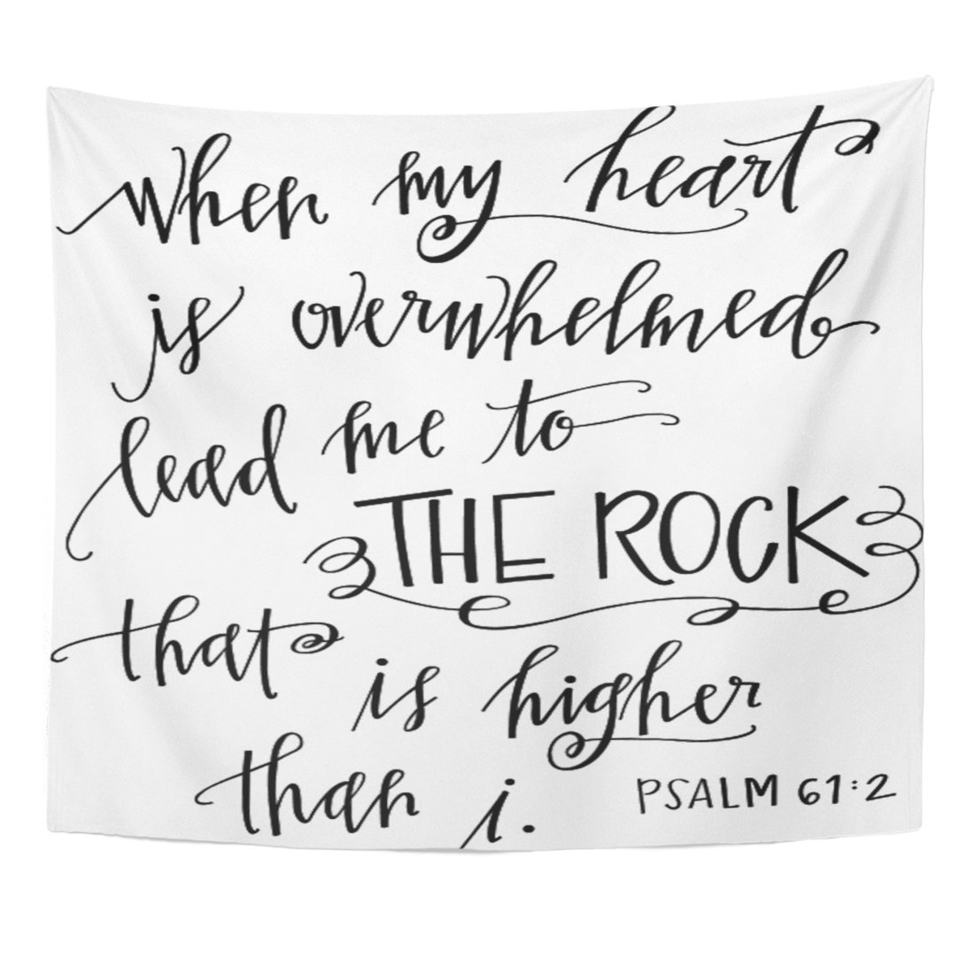 Breezat Tapestry Verse My Rock Bible Christian Quote Scripture Home Decor Wall Hanging for Living Room Bedroom Dorm 50x60 Inches