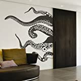 Tentacles Wall Decal Kraken Octopus Tentacles Wall Sticker Sea Animal Wall Decal Mural Home Art Decor Black