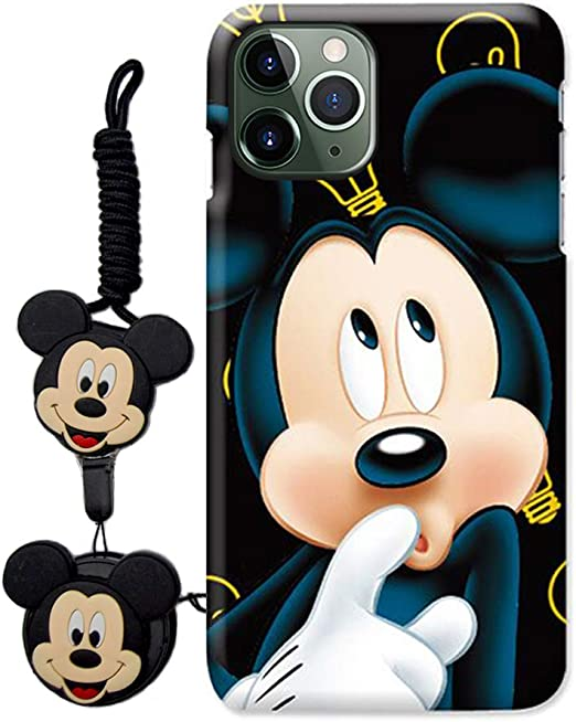 HikerClub Compatible with iPhone 12 Mini Case Lovely 3D Cartoon Case Mickey Minnie Mouse Soft TPU Silicone Cover with Pop Out Phone Stand Grip Holder and Neck Strap Lanyard Blue,12 Mini