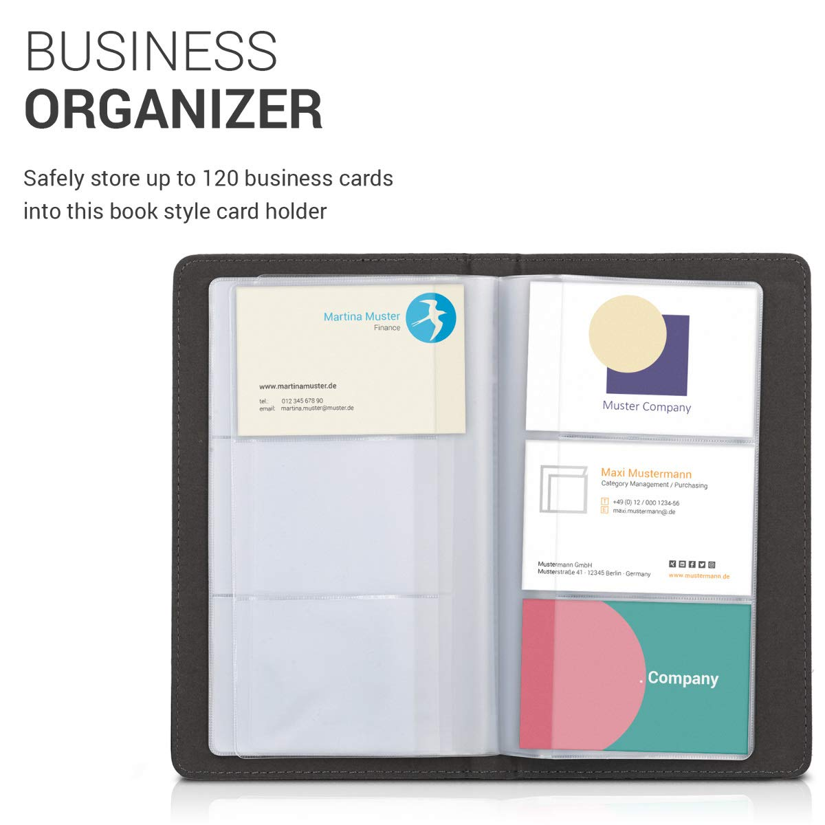 Amazon kwmobile business card organizer for 120 cards card amazon kwmobile business card organizer for 120 cards card holder book for business cards made of synthetic leather in black office products reheart Gallery