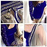 Fkart Festival Mega Sale Offer velvet royal blue Embroidered semi stitched salwar suit with dupatta