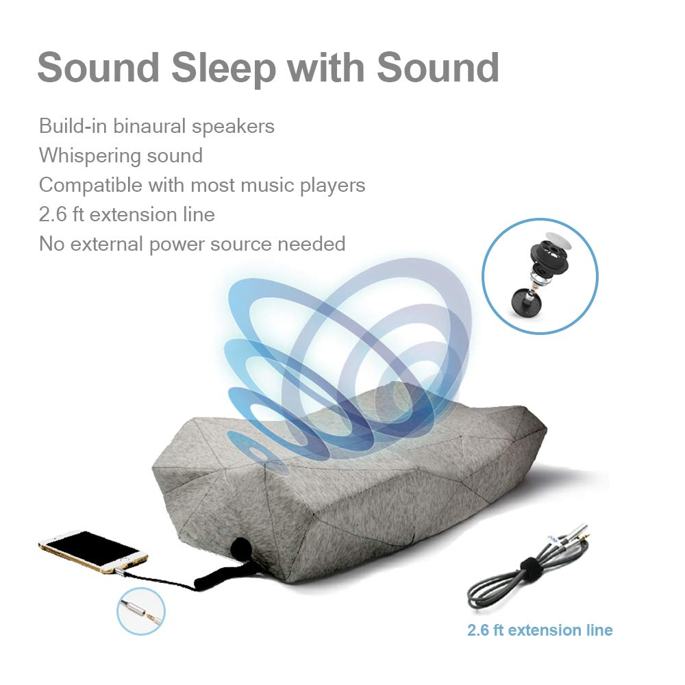 PILO Classic Ergonomic Smart Music Pillow, Orthopedic Contour Neck Pillow of Memory Foam & Bamboo Charcoal, Anti Snore Sound Therapy Pillow with Binaural Speakers, White Noise & Themed Sound Sleep-Aid by Pilo (Image #4)